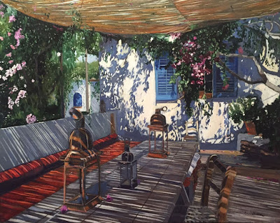 shadows on a porch